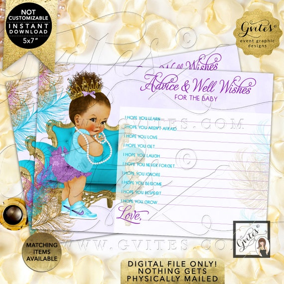 "Purple Gold Turquoise Lavender Advice baby shower wishes | Med/Bun Curly INSTANT DOWNLOAD | 7x5"" 2 Per Sheet {TIACH-105}"