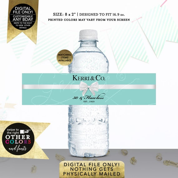 50th Water Bottle Labels Personalized | Breakfast at Themed Party Printable | 40th 60th Bday Labels Instant Download | Digital File Only