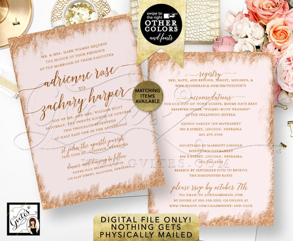 """Rose Gold and Pink Wedding Invitation Printable Invitations Bridal, Glitter Invite Modern, Blush Calligraphy Font 5x7"""" Double Sided"""