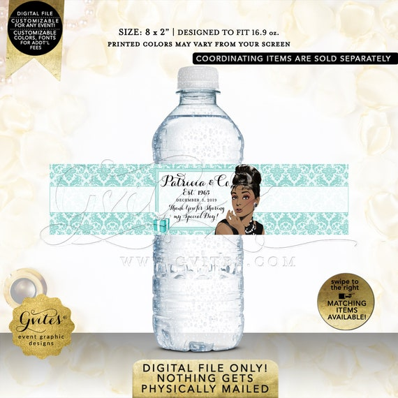 "Water Bottle Labels Personalized / Party Favors / Gifts Table Decorations / Audrey Hepburn African American. Any Event! 8x2"" 5 Per Sheet"
