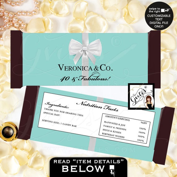 Candy Bar Wrapper/ 40 & Fabulous Breakfast at BIRTHDAY and co. party PRINTABLE chocolate wrapper/ customizable/ birthday party labels.