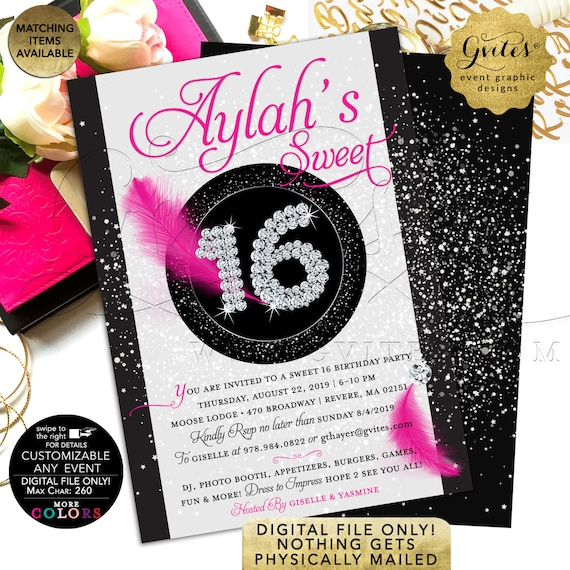 "Sweet 16 Invitations | Black White Hot Pink | Confetti/ Silver/ Glitter/ Bling/ Rhinestones | Printable JPG/ PDF 5x7"" Double Sided"