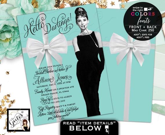 Breakfast At Invitations Audrey Hepburn Bridal Shower Invitation
