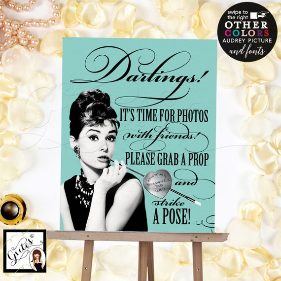 Photo Booth Sign Breakfast Bridal/Birthday/Sweet 16 | Audrey Hepburn Poster Print 8x10""