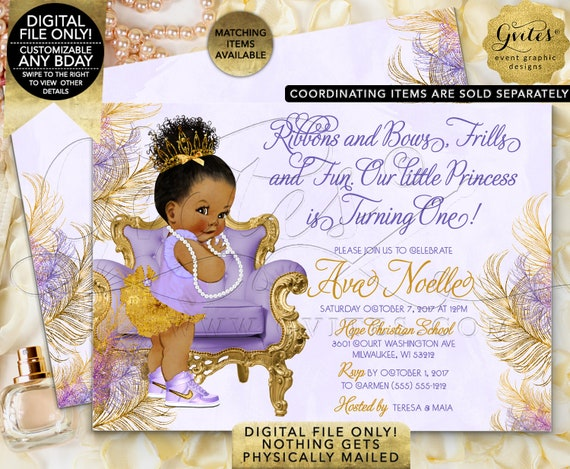 "First Birthday African American Invitations | Lavender Purple Gold | Afro Bun Ethnic Girl 7x5"" Double Sided Printable"