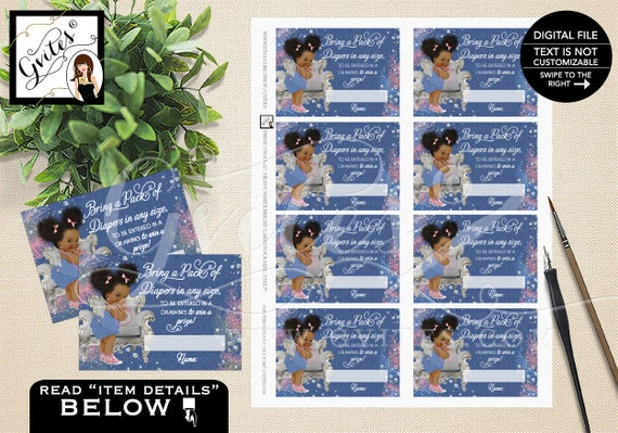 Little Princess Baby Raffle  / Ethnic Baby Party Printable Denim Diamonds / Vintage Baby Girl Prize Drawing Tickets / Instant Download