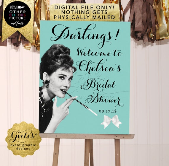 Welcome Bridal Shower Audrey Hepburn Party Decorations / Personalized Poster Signs. Printable File Only! JPG + PDF.