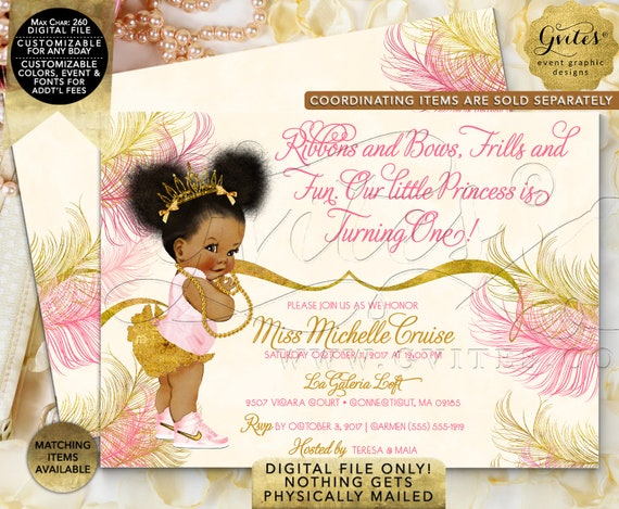 First Baby Pink Gold Birthday Invitations | Princess African American Afro Puff Baby | Gvites Design: TIACE-101