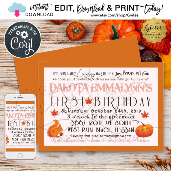 "Pumpkin First Birthday Girl Invitation/Fall baby invites/Autumn vintage/Halloween turning one. 7x5"" Double Sided. INSTANT Download"