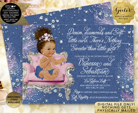 Pink Denim Diamonds Baby Shower Invitation. Princess Afro Bun Baby Girl | by Gvites