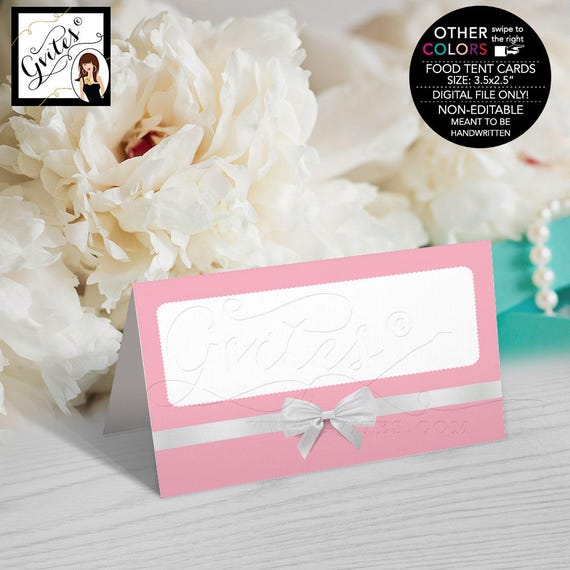 Food Tent Cards Breakfast at Theme Pink & White/ Blue and White birthday bridal shower table decor Folded buffet table cards