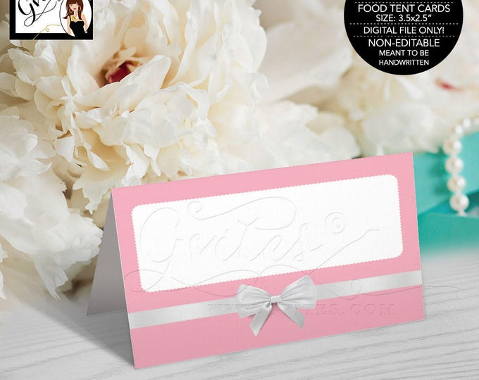 "Food Tent Cards, breakfast at themed pink and white, blue and white, birthday, bridal shower, decor Folded: 3.5x2.5"" 4 Per/Sheet"