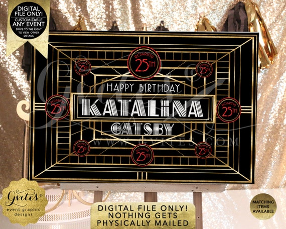 Great Gatsby Backdrops Happy Birthday Sign | JPG + PDF By Gvites