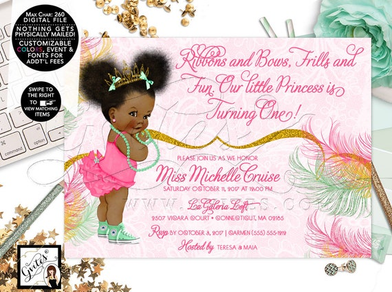 Pink & Mint Green and Gold Invitation | First Birthday Afro Puffs Baby Girl | Digital Printable File | JPG + PDF Format | 7x5"