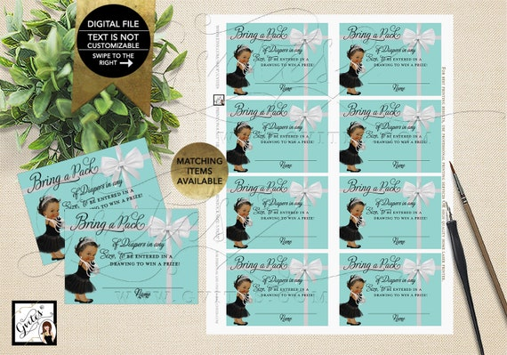 "Baby and Co Party Diaper Raffle Baby Shower Inserts, Printable. 3.5x2.5"" 8/Sheet. {INSTANT DOWNLOAD/Baby: Dark Jet}"
