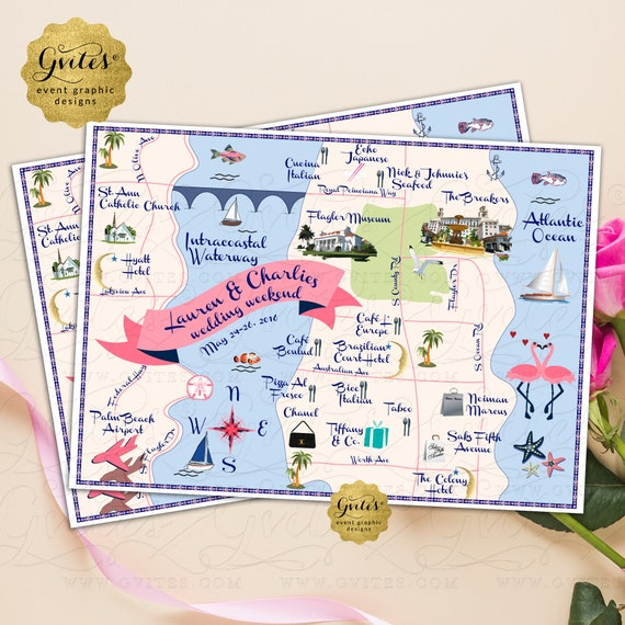 Custom Palm Beach Wedding Map | Nautical Theme Graphic Designs Themed Event. ANY City/Colors.