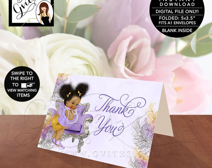 "INSTANT DOWNLOAD-Thank You Baby Shower, Lavender Purple Silver Gold, African American, Afro Puffs, Folded Card 5x3.5""/2 Per/Sheet."