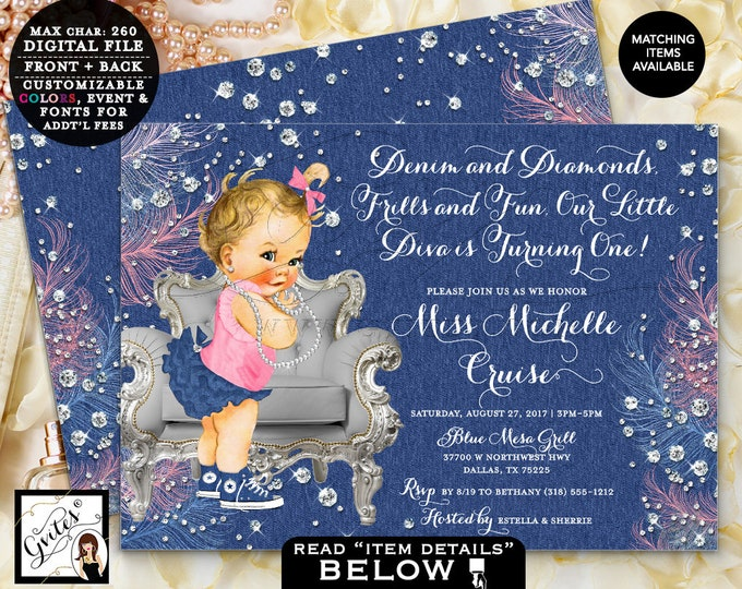 "Denim and diamonds our little diva Birthday Vintage Baby Girl, Blue silver and pink, Printable Invites, Digital, 7x5"" Double Sided Gvites"