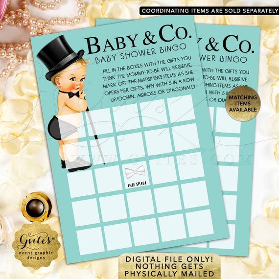 "Baby & Co Bingo Cards Baby Shower Boy/ Vintage Breakfast Little Man Printable/ JPG+PDF/ DIY 5x7"" 2 Per Sheet"