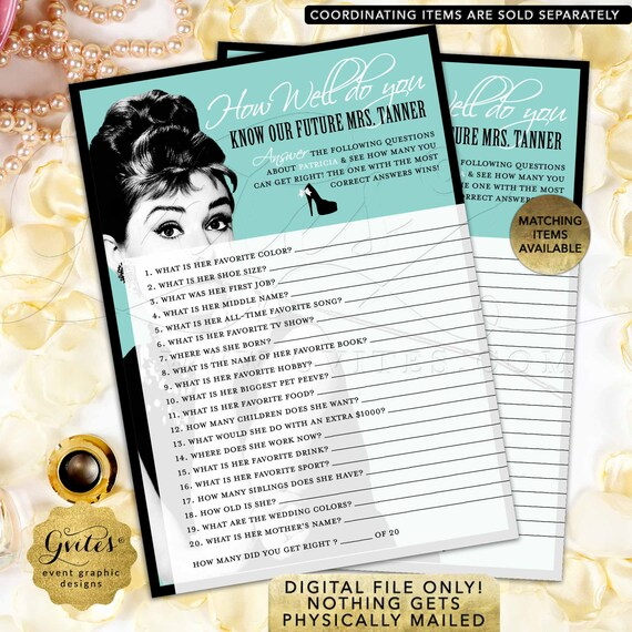 "How Well Do You Know The Bride/ Blue Breakfast themed Audrey Hepburn party printable bridal shower games 5x7"" 2 Per Sheet."