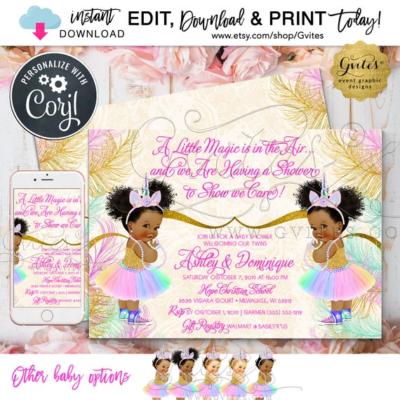 "Twins Unicorn Baby Shower Invitation \ Instant Download \  Editable Template \ 7x5"" Double Sided"