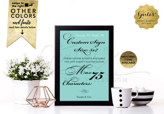 """Custom Table Signs 5x7"""" by Gvites."""