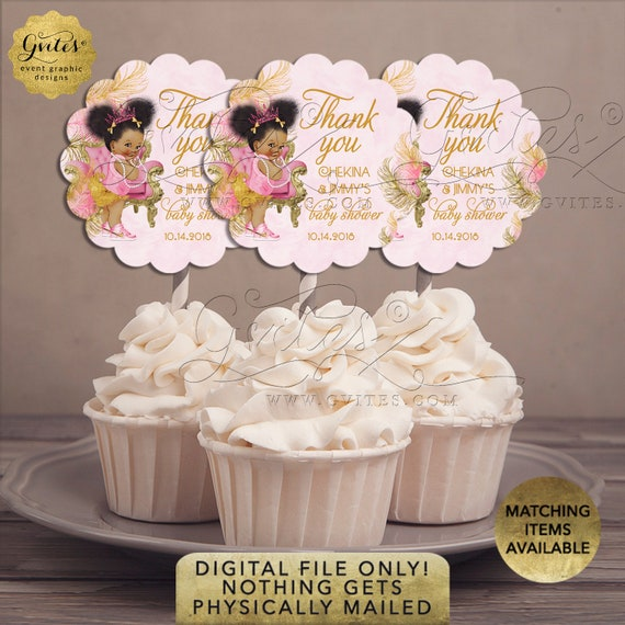 "Pink and Gold Cupcake Toppers Baby Shower Princess Afro Puffs | {Design: TIACH-110} By Gvites | 2.5x2.5""/ 9 Per Sheet {Avery® 08218}"