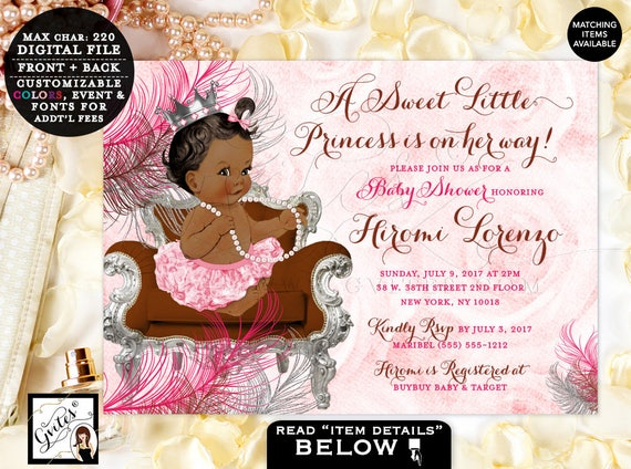 Little Princess Baby Shower Invitation / Princess Baby Girl Vintage Invite / Pink & Silver Crown Pearl Necklace Ballerina Hot Pink Tutu