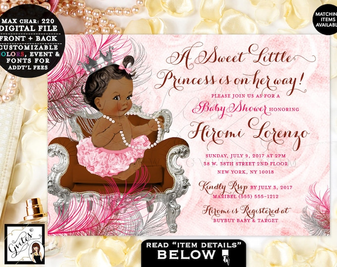 Silver and Pink Brown Invitations, Baby Shower, Princess Baby Girl Vintage, Ribbons Pearls Ballerina Girl, Tutus, Hot Pink, Chocolate Brown
