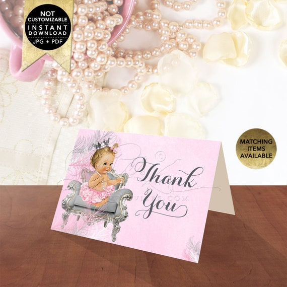 Pink & Silver Thank You Baby Shower Cards Folded Instant Download | Light/ Blonde CWCHS-103 By Gvites