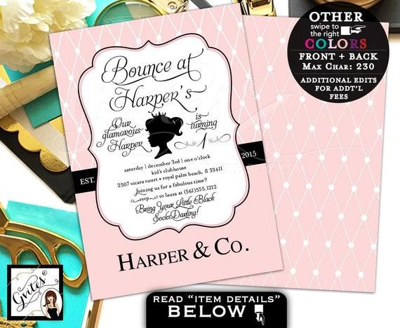 Bounce House 1st Birthday Invitation Pink Parisian