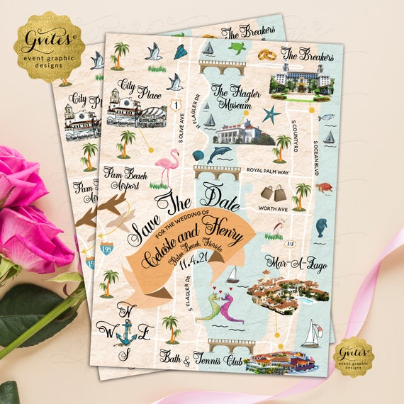 Palm Beach Save The Date Guest Map Illustration. Beach Custom Printable Florida Maps. ANY City Digital File Only!
