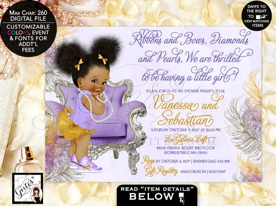 African American baby girl baby shower invitations, lavender purple gold silver, ethnic invitation, bows diamonds pearls. Afro Puffs Gvites