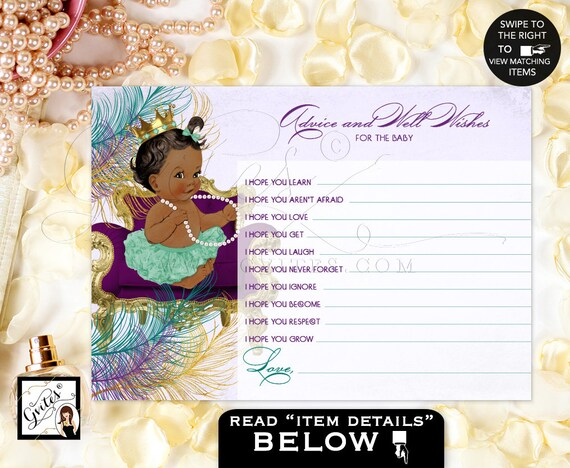 """Peacock advice cards and well wishes for baby/ peacock baby shower Princess advice wishes for baby African American. {5x7"""" 2 Per Sheet}"""
