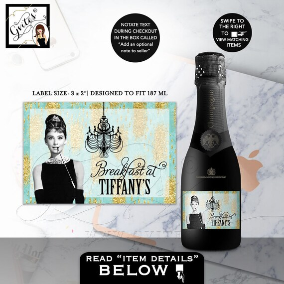"""Mini Champagne Labels Audrey Hepburn Turquoise blue gold Breakfast at and co themed party supplies 3x2"""" 9/Per Sheet"""