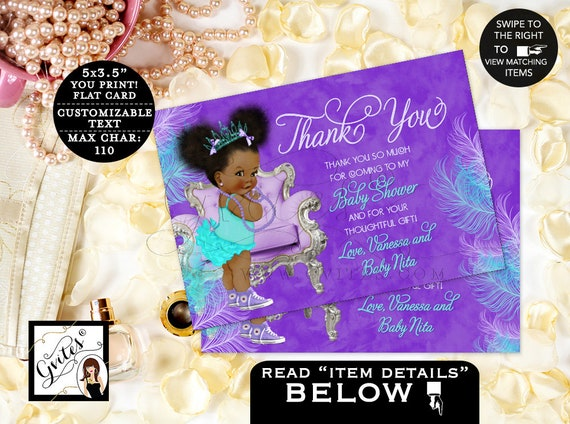"Thank You Cards Purple Lavender Aqua Turquoise Blue | Princess Baby Shower | Afro Puffs Baby Girl | African American  {5x3.5"" 4 Per/ Sheet}"