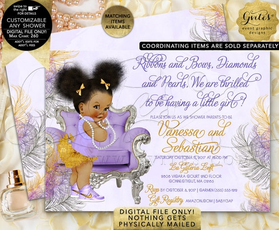 Purple Gold & Silver Baby Shower Invitations/ Afro Puff Baby Theme/ Vintage Lavender Diamonds Pearl Necklace