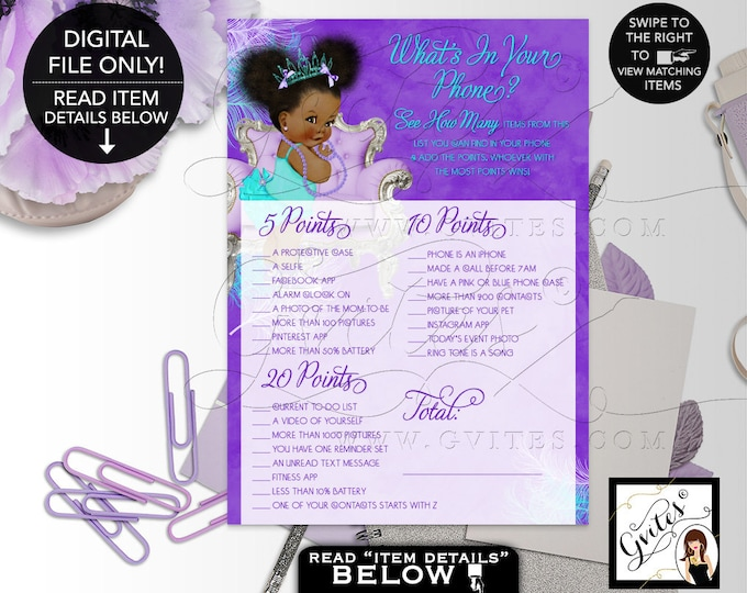 """What's in your phone Baby Shower Game, Purple Lavender Aqua Turquoise, Tiara Princess, Afro Puffs Girl 7x5"""" 2 Per Sheet  {Instant Download}"""