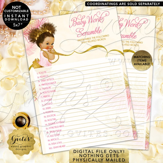 """Baby Word Scramble Game Cards Pink Ivory Gold 
