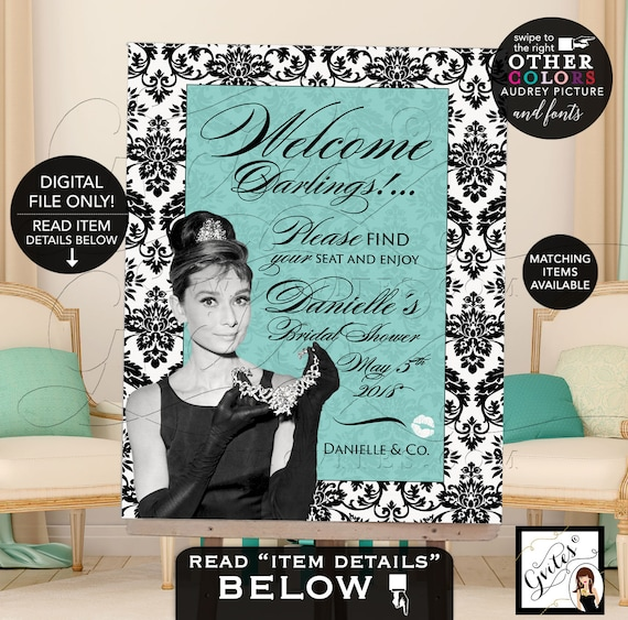 Welcome Bridal Shower Sign breakfast at blue and co themed, Audrey Hepburn party supplies, DIGITAL {First Name & Date Only}