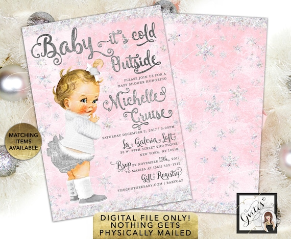 Pink & Silver Glitter Baby it's Cold Outside Invitations/ Snowflake Winter Wonderland 5x7 double sided. Gvites