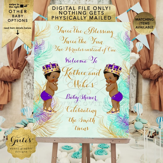 Welcome Sign Twins Baby Boy Shower African American Little Prince | Royal Purple Eggplant Mint Green Gold