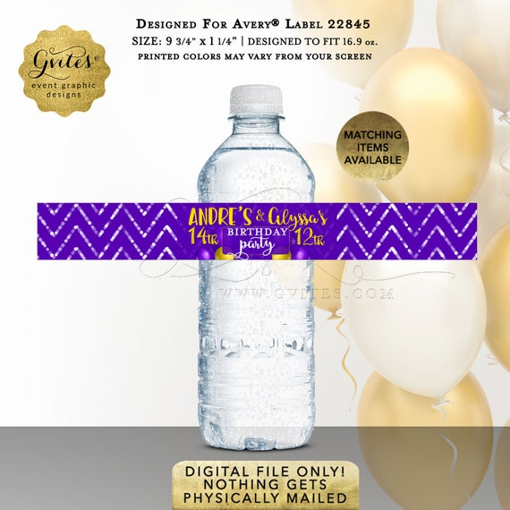Water Bottle Personalized Labels \ Brother & Sister Coed Birthday Party Favors \ Purple Mustard Yellow \ Personalized Stickers.