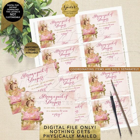 Diaper Raffle Tickets Blush Pink Gold Royal Princess Baby Shower Diamonds Pearls | Light/ Brunette 3.5x2.5 8 per Sheet Instant Download