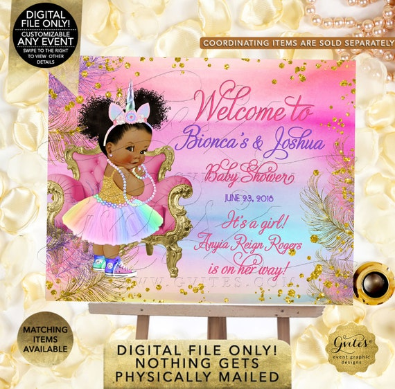 Unicorn Baby Shower Welcome Sign Princess Vintage Girl. Pink Purple Gold/ African American Rainbow. Digital File Only!