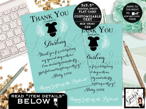 "Baby and Co thank you cards | Baby printable note cards | Greeting cards/turquoise blue girl. {3.5x5"" 4 Per/Sheet}"