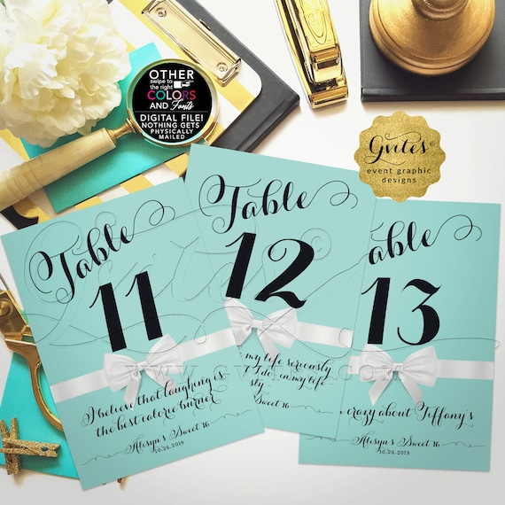 Custom Quote Table Signs/ Numbers/ Centerpiece/ Bridal/ Birthday/ Sweet 16 | 4x6 or 5x7