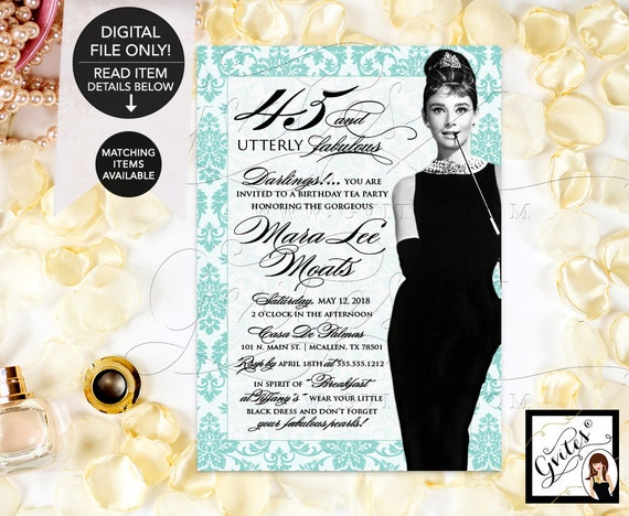 45th Birthday Invitation Audrey Hepburn Breakfast at Tea Party / Blue and White Little Black Dress Diamonds & Pearls / DIY Instant Download