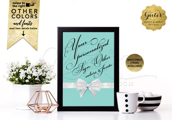 Custom Table Signs for weddings/ bridal shower/ birthdays/ baby shower/ decorations. Breakfast blue co theme white bow | 5x7 DIGITAL FILE!