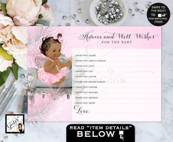 Baby Wishes Princess African American baby girl advice card